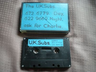 The 21/11/77 demo cassette was used to secure gigs. This copy is  from the collection of Dave Burdon. Click image to enlarge
