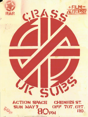 From the  Nicky Garratt U.K. Subs collection - Hand screened print poster for 1978 gig by Crass - Dave remembers being at this gig - click to enlarge