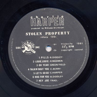Stolen Property label side 1 - click image to enlarge